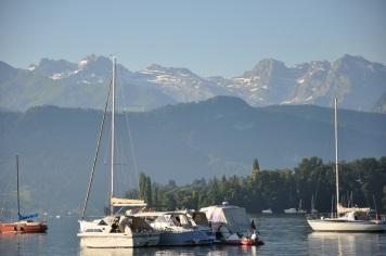 Luzern gölü ve Alpler