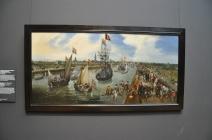 Kanalda atlarla çekilen gemi betimlemesi